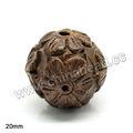 esculpido flor marrom contas de madeira natural contas de madeira