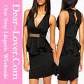 hot vente en gros noir v profond à volants robe peplum importer des vêtements en thaïlande