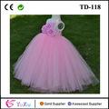 Main rose en tulle trois corsages un- étage d'épaule- long fleur fille robe tutu robe de mariage des enfants