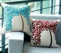 2014 venta al por mayor de china diseños bordados a mano del árbol de la vida de una funda de almohada- rojo