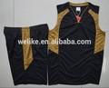 100% dri fit de poliéster negro y amarillo de baloncesto uniforme para las mujeres