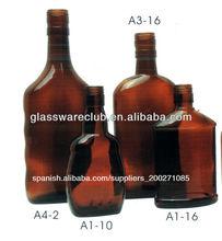 De color ámbar de la botella de vidrio para el vino, bebidas y embalaje de alcohol