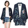 2014 caliente venta de las mujeres de primavera y otoño estilo manga murciélago estampado flores asimétricas kimono 6834 blusa