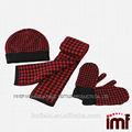 más reciente de la moda de invierno gruesa bufanda de pata de gallo. Guantes. Sombrero conjunto, 100% de cachemira para niños