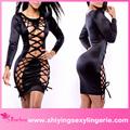 de alta calidad al por mayor negro noir showstopper de encaje hasta bodycon vestido de mujer sexy ropa interior caliente fotos