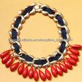 2013 mujeres accesorios de moda, cinta negro boga envueltos cadena collares gruesos con coral perlas rojas de la lágrima