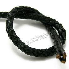 мода 5mm черный плетеный кожаный шнуры для ожерелье