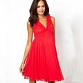 hermosa 2014 caliente de ventas sin mangas de color rojo vestidos de fiesta para las mujeres embarazadas de china proveedor oem