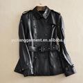 nuevo producto de moda negro genuino de piel de oveja chaqueta de cuero para las niñas