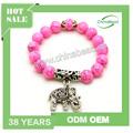 Pulsera hecha a mano de color rosa, pulsera elástica, pulsera del encanto del elefante, pulsera de piedra natural