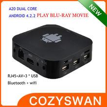 4.2 tv caja q5 3d 3*usb rj45 av out jugar blue ray 3d a20 películas de doble núcleo de google android elegante caja de tv