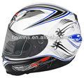 blue and white racing motorbike helmet full face
