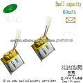 3.7v 60mahli-polímero batería 401515 recargable para auricular Bluetooth