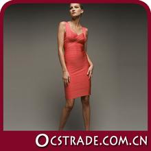 2014 de la señora sin mangas de color naranja vestido de cóctel corto verano