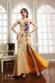 Brilhante!!!!! Tecido De Lantejoulas 2014 Bling Noite Comprimento Pavimento Split Sereia Strapless Vestido Com A Mão- Flor Feita