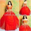 Vestido anaranjado y rojo del vestido de bola de junio Mei Q0024 del quinceanera