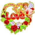 Papier brillant 3d angle. champagne. coeur en forme de couronne pour mariage,& saint valentin décoration