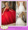 Alta qualidade marca de vestidos de noiva vermelho com a namorada ata acima para trás appliqued corpete saia de organza( mn1590)