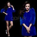 QD29649 ropa de las señoras de zafiro genuino piel de conejo rex con piel de zorro manga niñas abrigos de invierno