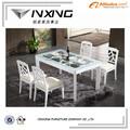 blanco base de madera de vidrio mesa de comedor para la venta