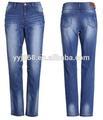 nueva venta al por mayor de moda las mujeres jeans denim azul con bigote a mano decolore cepillo especial proceso de lavado