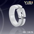 Anel de noivado de cerâmica prata branco moda