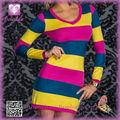 Venta caliente mini vestido para las mujeres 2014 Manga larga Mini vestido PP2058 High Fashion Sexy raya