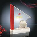 Rojo/claro blanco cyrstal triángulo tipo de bola de cristal trofeo