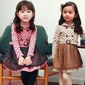 de los niños de manga larga punto princesa vestidos para las niñas