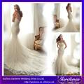 Lujosa Nuevo Modelo largo moldeado sirena del tren de encaje patrones vestido de novia vestido de la boda turca 2014 (ZX002)