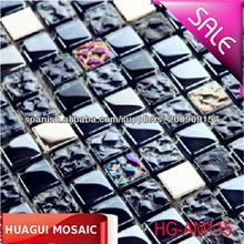 Negro pulido de mosaico de azulejos y baldosas de vidrio iridiscente convexo y cóncavo muro Decorative Material Factory Building