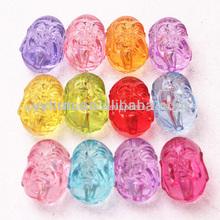 Venta al por mayor cuentas, chunky cuentas, la cabeza de acrílico transparente diseñado cuentas de color mezclado, 20*15mm