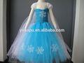 nuevo diseño de congelado vestido de princesa elsa traje para las niñas