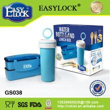 Conjunto:Regalos de las botellas de agua de plástico y cajas de almuerzo: PP y libre de BPA