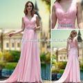 al por mayor venta caliente de barrido de cuentas delgado cuello en v de color rosa a largo vestido de noche