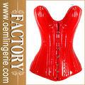 pure vermelho brilhante sweetheart corpete de couro