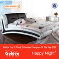 A2900# foshan muebles golden king size blanco camas de cuero moderno
