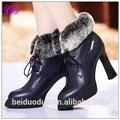 botas de tacón de aguja de suela de goma de piel botas de tobillo para las mujeres