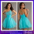 Best selling alta qualidade um- linha um- ombro frisada top saia de tule azul royal curto vestidos de formatura( zx452)