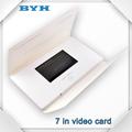 electrónico de alta calidad de vídeo folleto de fábrica en china 7 pulgadas de impresión de la tarjeta de vídeo