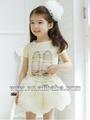 El último de la moda hermosa niños ropa de verano 2014 rosa/falda blanca para bebé niño de desgaste