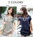 as mulheres novo modelo v pescoço blusas 2014 manga curta tamanho grande das senhoras blusa de folga