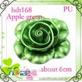 Handmade cor de maçã verde pu sapato flor, rosa flor de couro
