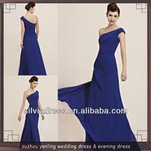 c769 un hombro azul de encaje gasa sobre la longitud del piso oficial las imágenes vestidos de las mujeres