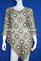 nueva moda de las señoras jersey de punto de ganchillo poncho