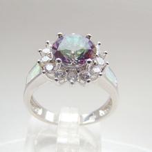 Plata y bronce con piedra de ópalo, azul fuego de joyería de moda opal aceptados por PayPal