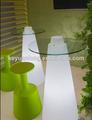 Led de vidro mesa com suporte de aço inoxidável, outdoor led de vidro mesa de bar