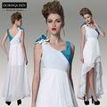 Dropshipping dorisqueen 2014 nueva llegada del plisado hi-lo de dama de honor vestido de fiesta