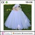 Handmade white and beige tulle fishtail corsage tank top floor-long flower girl tutu dress plus size wedding dress