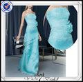 pp0259 laço frisado corpete organza azul vestidos de festa para adolescentes